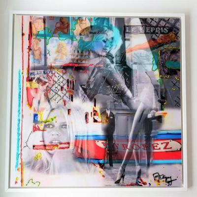 Bardot sur alu et plexiglass 70x70cm avec caisse americaine 74 5x74 5 cm