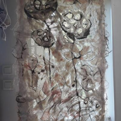 Capsule tableau textile en laine soie et lin 1