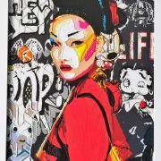 Geisha 30x40 cm sur alu et plexiglass avec cadre
