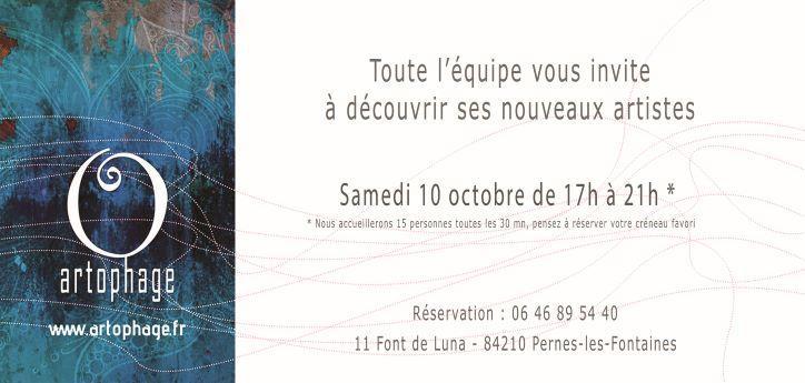 Invitation vernissage artophage 10 octobre 2020 avec reservation