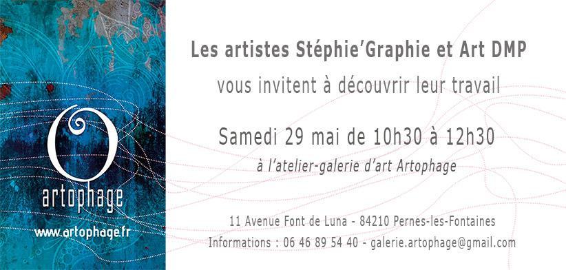 Invitation vernissage stephie graphie et art dmp 29 05