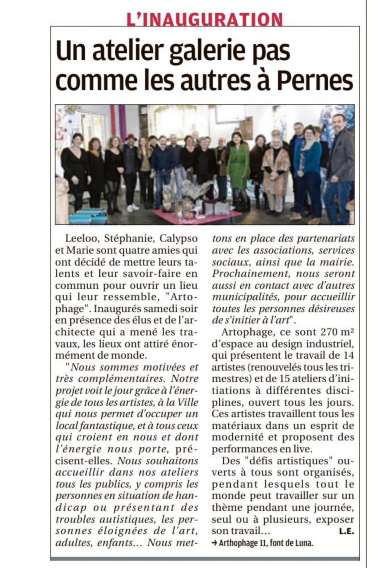 La provence 2 mars 2020 un atelier galerie pas comme les autres