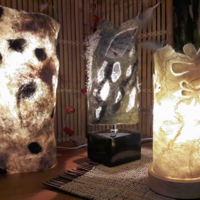 Lampes en laine feutree