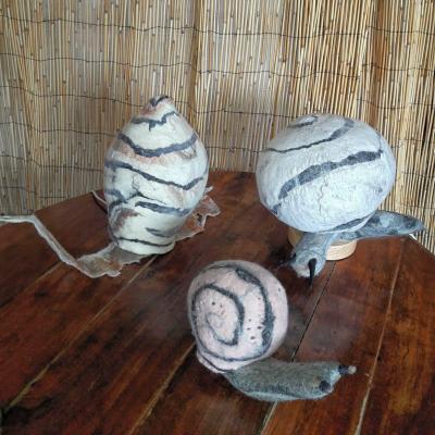 Les escargots en laine feutree