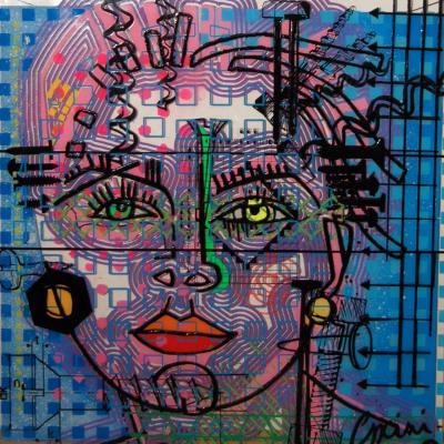 Madonne nikki de st phalle 100 x 100 cm plexiglas collages peinture