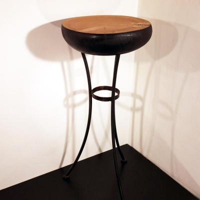 Table haute diam 43cm h115cm cedre et acier