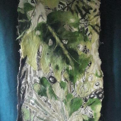 Tableau textile laine soie et lin tropical 1 65x130cm